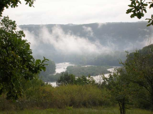 Morning Mist Over An Island In The Dordogne
