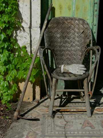 M's Chair In Her Garden