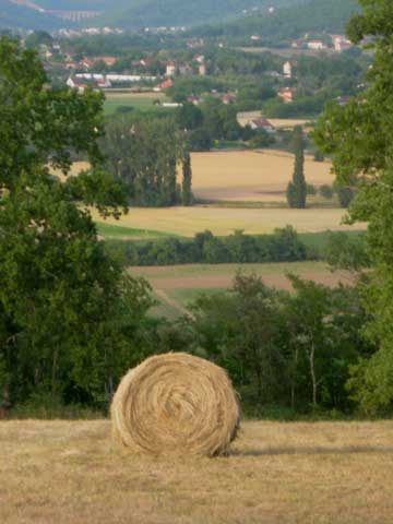 Hay Bale With Distant View Of Souillac