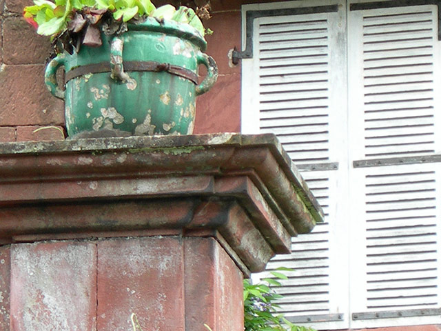 Antique Planter On A Stone Column, Collanges La Rouge