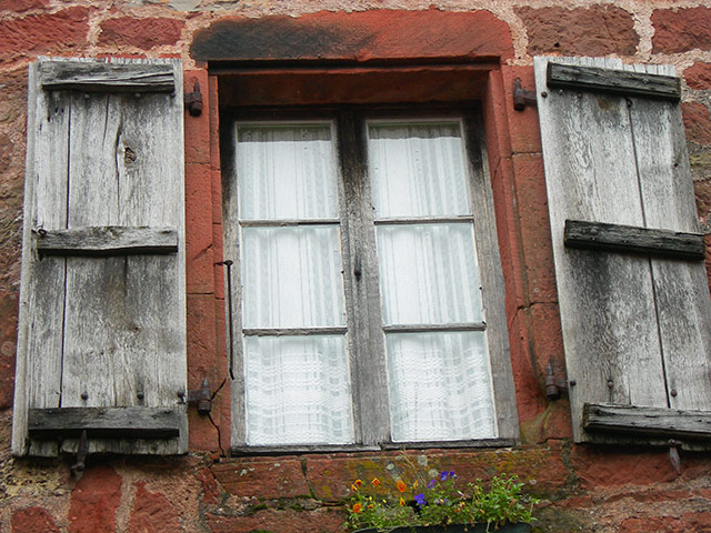 Lace Curtains Framed In Ancient Shutters, Collange La Rouge